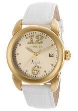 New Women's Invicta 15289 Angel Gold Tone Dial White Genuine Calf Leather Watch