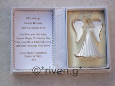 YOUR GUARDIAN ANGEL GLASS FIGURE@Floral Box@PERSONALISED CHRISTENING Verse@Glass