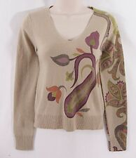 Etro Tan 100% Cashmere V-Neck Sweater Size 40 Paisley Pattern -- SMALL FLAW