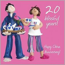 FUN Happy 20th CHINA Wedding Anniversary Card, Cheeky Cheerful Couple + Tea Cup