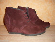 Studio W Wedge Ankle boots NEW Size 42 in burgundy & Nubuck leather view