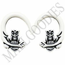 0679 Spiral Owl Taper Expander Stretcher Plugs Gauges Hoops 4G 5mm White Black