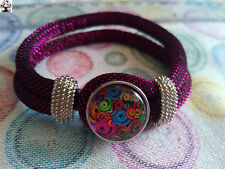 "Pulsera cordón rosa brillante botón ""snap button"" + REGALO"