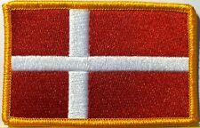 Denmark Flag Embroidered Iron-On Patch Military Emblem Gold Border