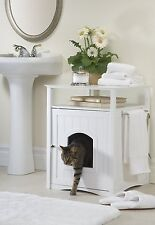 Litter Box Furniture Hidden Cat Dog Bed Bathroom Stand Side Table White Wooden