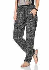 Aniston Damen Hose Stoffhose Leopard-Print Polyester schwarz beige Gr. 34 576619