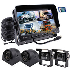 "9"" QUAD MONITOR WITH DVR BACKUP CAMERA SAFETY SYSTEM FOR TRUCK TRAILER RV"