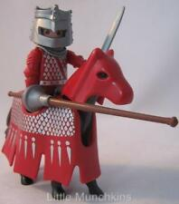 Playmobil Castle extras: Red & silver battle/jousting knight figure & horse NEW