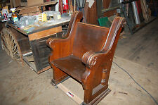 ANTIQUE SINGLE SEAT CHURCH PEW CHAIR 1/4 SAWN, OAK ORNATE CARVING, 2 AVAILABLE