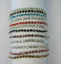 Wholesale 12 PCS Stretch Rhinestone Crystal Bracelets Silver Plated Mix Colors