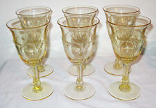 "Vintage 1930 Heisey Glass Empress Sahara Yellow 6 Water Goblets Wine 7"" Rare"