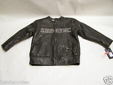 Harley-Davidson Winged B&S Brown Faux Leather Jacket Boys size 4