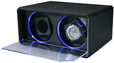 Diplomat Double 2 Watch Winder with Blue LED Lighting Black Leatherette 31-408