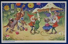 FESTA NEL BOSCO gnome frog mouse birds postcard no viaggiata anni 40 f/p #5273