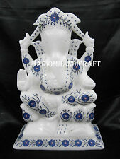 "12"" White Marble Lord Ganesha Statue Real Lapis Stone Art Home Decor Gifts H2547"