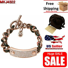 Women's Michael Kors Bracelet MKJ4322 Rose Gold Tortoise Toggle Chain Armband
