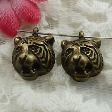 Free Ship 70 pieces bronze plated tiger head charms 17x14mm #1387