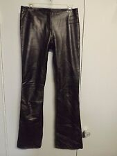"""CACHE Silvery Black Fully Lined LAMBS LEATHER Boot Cut Pants Size 4 x 34"""""""