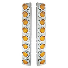 Peterbilt Front Air Cleaner Kit w/ 16 Flat LED Lights & Visor - Amber Lens
