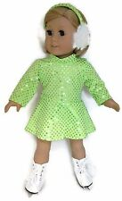"Green Sequin Skating Dress & Earmuffs made for 18"" American Girl Doll Clothes"