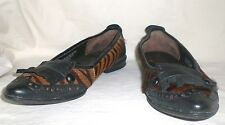 Born Brown Black Animal Print Pony Hair and Leather Fringe Flats EXC 38.5 7.5 M