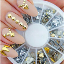 260pcs SilverGold Glitter Nail Art Decoration Sticker Punk Rivet Stud 2-8mm A-OK