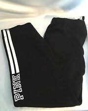 VICTORIAS SECRET PINK SWEATPANTS BOYFRIEND SLOUCHY PANT SMALL BLACK GRAY MARL