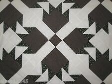 """Bear Paw New Patchwork Quilt Top, 92"""" x 92"""", Brown, Black&Green, #3"""