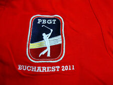 Stedman Red Golf Shirt Large Mens PBGT Bucharest 2011 Patch Logo 100% Cotton