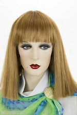 Mid Long Straight Blunt Cleopatra Style Bob Blonde Brunette Red Across Bangs Wig