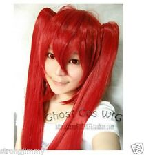 HOT Miku Long Red Straight Cosplay Wig With Two Clip On Ponlytails STR.4