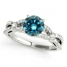 0.77 Ct Fancy Blue Diamond SI2 Solitaire Engagement Ring Stunning 14k White Gold