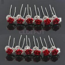 12x Diamante Flower Rose Hair Pins Clips Comb Prom Wedding Bridal Headpiece