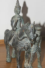 ANTIQUE INDIAN/SOUTH ASIA  BRONZE FIGURE ON A HORSE WITH A SOLDIER