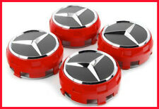 4 X MERCEDES BENZ 75MM CENTRE CAPS FOR GENUINE ALLOY WHEELS AMG RED