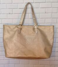 Vince Camuto PVC Weekender Carry All Tote Bag Gold New
