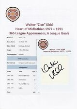 "WALTER ""ZICO"" KIDD HEART OF MIDLOTHIAN 1977-1991 ORIGINAL SIGNED CUTTING/CARD"