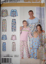 Simplicity Misses Mens Childs Pajamas Flannel Top Pants Pattern 2481 XS-XL NEW!