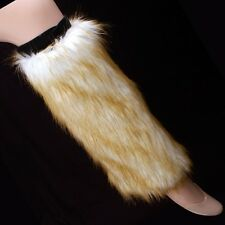 NEW FLUFFY FAUX FUR BOOT TOPPERS ~ WHITE W/ BROWN TIPS FURRY LEG WARMERS #LGF305