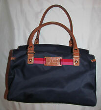 KATE SPADE NEW YORK dark navy blue nylon and tan leather satchel duffle hand bag