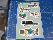 vtg 1990s Girl skateboard sticker sheet Eames chairs