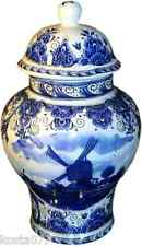 T. Delft's, Large Blue White Jar, Urn, Holland, Windmill motive