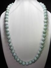 100% Natural light green jade beaded necklace (10mm beads)