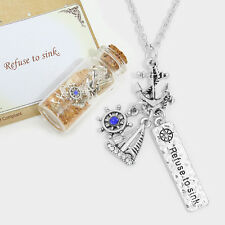 Anchor Necklace I Refuse To Sink Message in a Bottle SILVER Nautical Jewelry