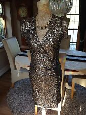 DESIGNER FRENCH CONNECTION FCUK SAMANTHA ALEXIS SILVER GREY SEQUIN DRESS 6 8 36