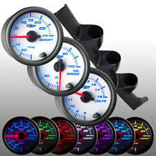 93 - 97 Honda Del Sol Triple Gauge Pod 52mm w. 3 White 7 Gauges Package