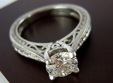 GIA CERTIFIED 1.03CT(H/VS2) PLATINUM Round Excellent Cut Diamond Engagement Ring