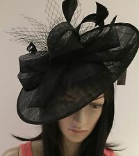 NIGEL RAYMENT BLACK DISC FASCINATOR WEDDING ASCOT HAT FORMAL MOTHER OF THE BRIDE