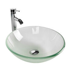 Bathroom Sink Bowl Vessel Stainless Drain Faucet Frosted Basin Glass Combo Pop
