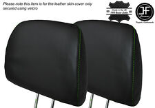 GREEN STITCH 2X FRONT HEADREST LEATHER SKIN COVER FITS HONDA CIVIC EK4 95-01